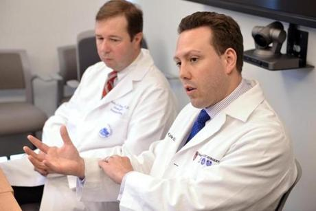 Dr. Curtis Cetrulo (left) and Dr. Kyle Eberlin, who performed the surgeries on Bouchard.